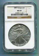 Buy 2007 AMERICAN SILVER EAGLE NGC MS69 BROWN LABEL PREMIUM QUALITY NICE COIN PQ