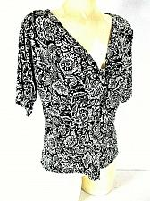Buy DANNY & NICOLE womens Sz 16 S/S white black KNOT front FLORAL stretch top (J)