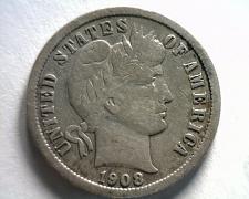 Buy 1908 BARBER DIME FINE / VERY FINE F/VF NICE ORIGINAL COIN BOBS COINS FAST SHIP