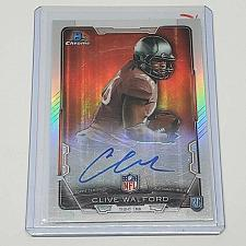 Buy NFL CLIVE WALFORD AUTOGRAPHED 2015 BOWMAN CHROME ROOKIE REFRACTOR MNT