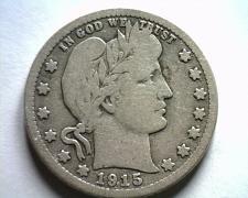 Buy 1915-D BARBER QUARTER DOLLAR VERY GOOD+ VG+ NICE ORIGINAL COIN FROM BOBS COINS