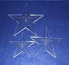 """Buy Star Template 3 Piece Set. 4"""",5"""",6"""" - Clear 3/8"""" Thick w/ Guidelines & Center Ho"""
