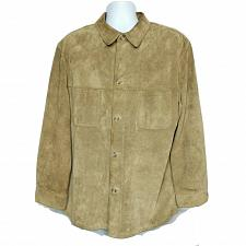 Buy Mark Shale Mens Suede Leather Coat Size Large Solid Tan Pockets Button Up