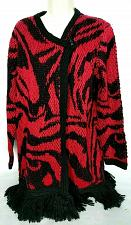 Buy Chicos Womens 1 Button Cardigan Sweater Size Large Black Red V Neck Fringe