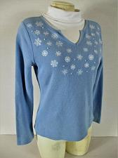Buy STUDIO WORKS womens PM L/S blue white EMBROIDERED turtleneck sweater (B8)