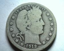 Buy 1912 BARBER QUARTER DOLLAR GOOD / VERY GOOD G/VG NICE ORIGINAL COIN BOBS COINS