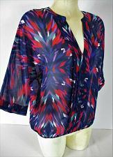 Buy ANA womens Medium 3/4 sleeve red blue purple PLEATED front ELASTIC hem top (A)