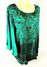 Buy Ashley Stewart womens 22W green black RHINESTONE one SLEEVE top NWT (G)PMTD