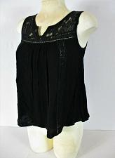 Buy ACEMI womens Medium Sleeveless black CROCHET KNIT floral tank top (S)