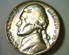 Buy 1958 JEFFERSON NICKEL CHOICE UNCIRCULATED MONSTER RAINBOW COLOR OBV REV ORIGINAL