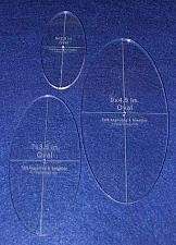 """Buy Oval Quilt Templates 3 Piece Set. 5"""",7"""",9"""" - Clear 1/4"""" Thick w/ Guidelines"""
