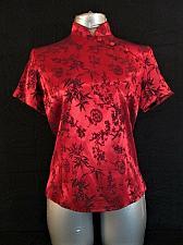 Buy JESSICA HOWARD EVENINGS womens Sz 6 S/S red black ZIPPER BACK top (H)