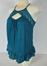 Buy NO BOUNDARIES womens Small (3-5) sleeveless blue LACE NECKLINE stretch top (E)