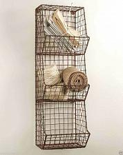 Buy Wall Basket Three Bin Metal Wire Handmade Storage Organizer Country Farmhouse