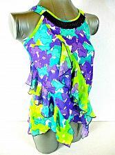 Buy Pogo Club girls L (10/12) purple green RUFFLES lined SEQUINS stretch top (J)PMTD