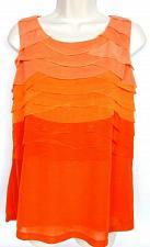 Buy Worthington Petite Women's Sleeveless Blouse Top Size PL Layered Tiered Orange