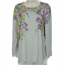 Buy Studio Denim & Co Floral Print Blouse Top Medium Long Sleeve Scoop Neck