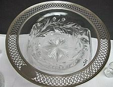Buy Sterling rim American Brilliant Period hand Cut Glass Floral ABP