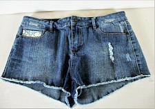 Buy FOREVER 21 womens Sz 30 W32 blue denim LACE POCKETS distressed stretch shorts K)