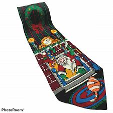 Buy Santa Claus Coming Down Chimney Fireplace Stockings Christmas Novelty Silk Tie