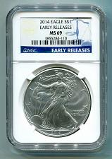 Buy 2014 AMERICAN SILVER EAGLE NGC MS69 EARLY RELEASES BLUE PREMIUM QUALITY PQ COIN