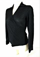 Buy Josephine Chaus womens Sz 4 L/S black SILVER METALLIC faux WRAP stretch top (G)