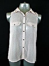 Buy EYELASH COUTURE womens Small SLEEVELESS PINK BUTTON UP SHEER PLEATED TOP (M)
