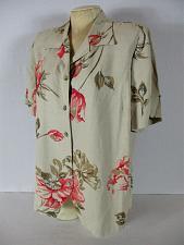 Buy FASHION BUG womens Sz 14 /16 S/S tan pink brown FLORAL button down RAYON top B2)