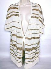 Buy Coldwater Creek Women's Shrug With Clasp 1X Cream Gold Stripes Sparkly V Neck