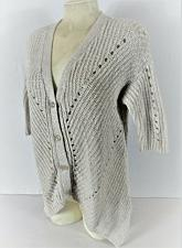 Buy BELLDINI womens Large S/S white BUTTON DOWN cardigan knit sweater (C5)