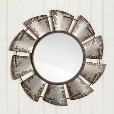 Buy Rustic Windmill Wall Mirror Farmhouse Galvanized Metal Distressed Home Decor
