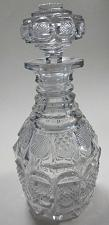 Buy Early Hand Cut glass decanter crosscut cut in pattern stopper Antique