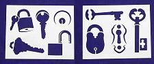 "Buy Locks/Keys -2 Piece Stencil Set 14 Mil 8"" X 10"" Painting /Crafts/ Templates"