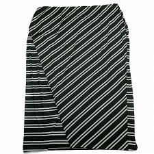 Buy NWT CJ Banks Womens Maxi Skirt 3X Pull On Black White Striped Diagonal Layered