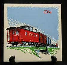 "Buy Vintage Train Railroad Railway Tile Trivet Plaque Safety Award 6"" CN Caboose"