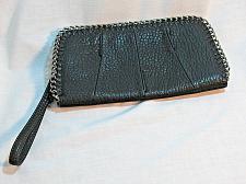 Buy JESSICA SIMPSON Black Pebbled Chain Wristlet Clutch Wallet Purse