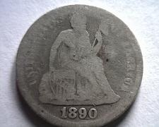 Buy 1890 SEATED LIBERTY DIME GOOD G ORIGINAL COIN FROM BOBS COINS FAST SHIPMENT