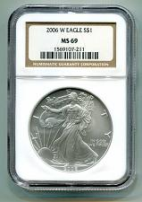 Buy 2006 W AMERICAN SILVER EAGLE BURNISHED UNC NGC MS69 BROWN LABEL NICE COIN COIN