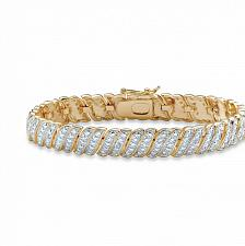 Buy White Diamond Accent Two-Tone Pave-Style S-Link Tennis Bracelet 14k Yellow Gold