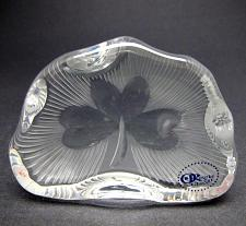 Buy Hand Cut Glass polished shamrock pattern paperweight, Ireland 24% lead crystal