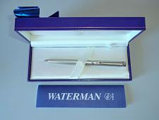 Buy Waterman Paris Silver Colour Ball Point Pen, Marbled Blue Case and Paperwork