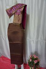 Buy Mauve Purple Thai Lanna Synthetic Silk sinh Skirt Pha Bieng Tailor to your size