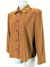 Buy BRIGGS womens Medium petite L/S brown FAUX SUEDE button up STRETCH jacket (B3)P
