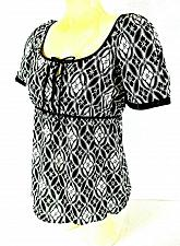 Buy RQT womens Small S/S black white KEYHOLE tie neck EMPIRE waist side ZIP top (J)