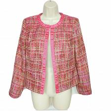 Buy Chicos Womens Yarn Blazer Size 0 Small Pink Padded Shoulders Long Sleeve