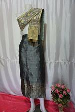 Buy Gray Lao Laos Synthetic Silk sinh Wrap Skirt Pha Bieng for Songkran Waist 33""