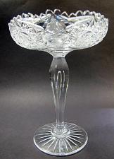 Buy American Brilliant Period Cut Glass compote teardrop stem Antique hobstar ABP