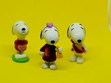 Buy VINTAGE PEANUTS SNOOPY LOT OF 3 VALENTINE'S COLLECTIBLES 3-INCH FIGURINES