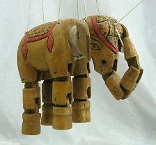 Buy Vintage Wooden Hand Carved Elephant Marionette Puppet Primitive