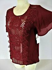 Buy COCO + JAIMESON womens Medium S/S burgundy CROCHET FRONT mesh trim top NWT (B)